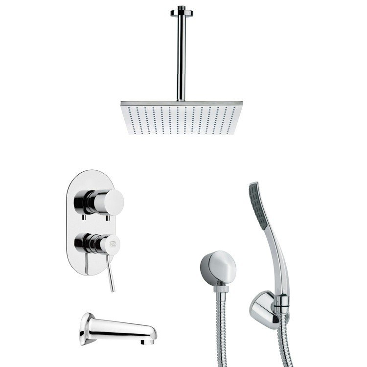REMER TSH4096 TYGA CHROME SQUARE TUB AND SHOWER FAUCET WITH HAND SHOWER