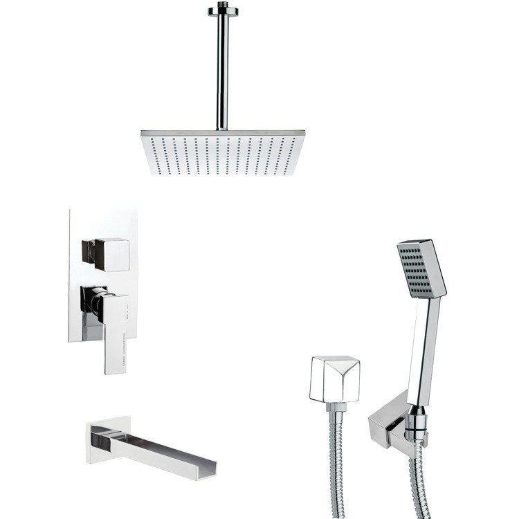 REMER TSH4097 TYGA CHROME SQUARE TUB AND SHOWER FAUCET WITH HANDHELD SHOWER