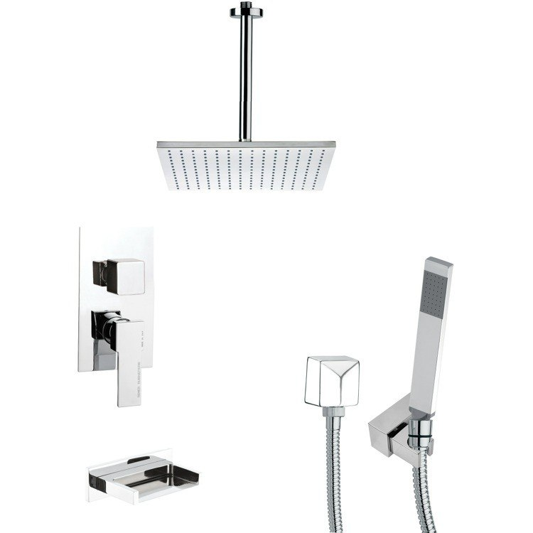 REMER TSH4098 TYGA CHROME SQUARE TUB AND SHOWER FAUCET SET WITH HANDHELD SHOWER