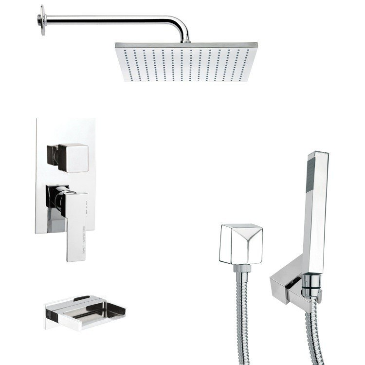 REMER TSH4099 TYGA CHROME SQUARE TUB AND SHOWER FAUCET SET WITH HAND SHOWER