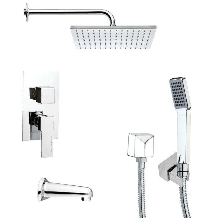 REMER TSH4100 TYGA SQUARE CHROME TUB AND SHOWER FAUCET SET WITH HANDHELD SHOWER