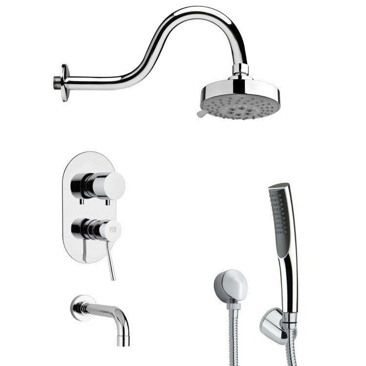 REMER TSH4105 TYGA MODERN SLEEK TUB AND SHOWER FAUCET WITH HAND SHOWER IN CHROME