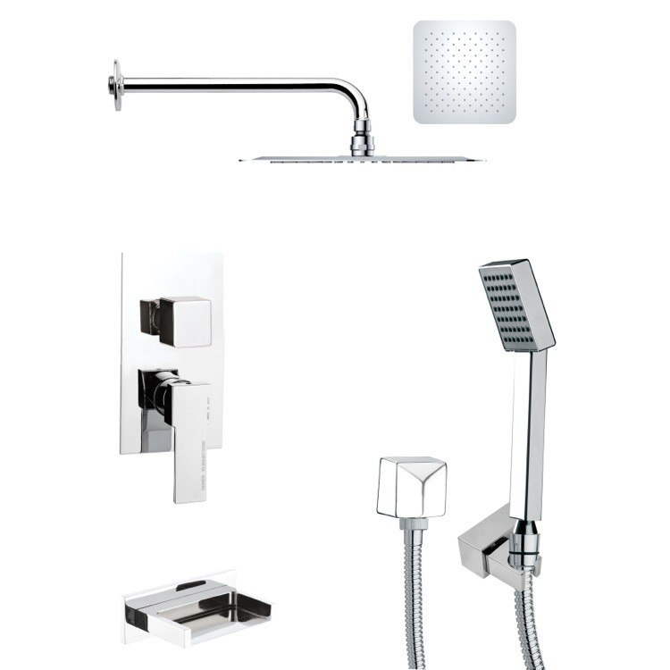 REMER TSH4118 TYGA SQUARE TUB AND SHOWER FAUCET WITH HANDHELD SHOWER IN CHROME