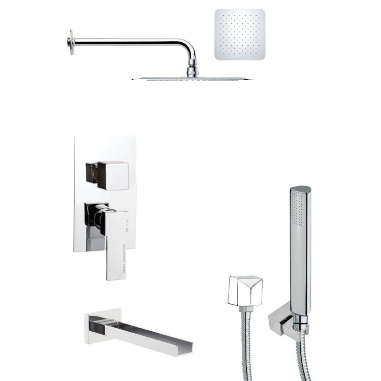REMER TSH4119 TYGA SQUARE TUB AND SHOWER FAUCET WITH HAND SHOWER IN CHROME