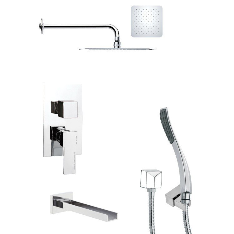 REMER TSH4120 TYGA SQUARE TUB AND SHOWER FAUCET SET WITH HANDHELD SHOWER IN CHROME