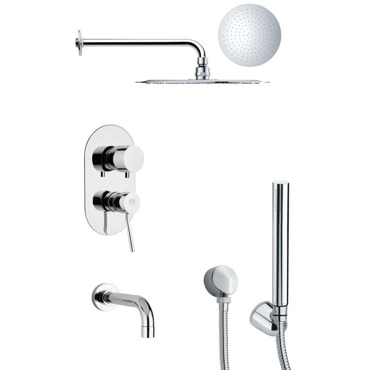 REMER TSH4124 TYGA ROUND CONTEMPORARY TUB AND SHOWER FAUCET WITH HANDHELD SHOWER IN CHROME