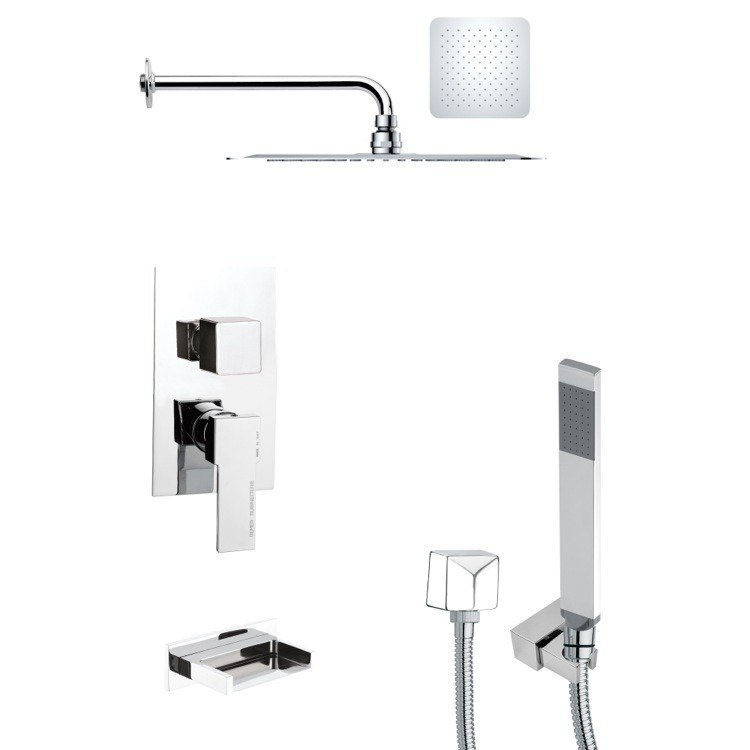 REMER TSH4127 TYGA CONTEMPORARY SQUARE POLISHED CHROME SHOWER SYSTEM