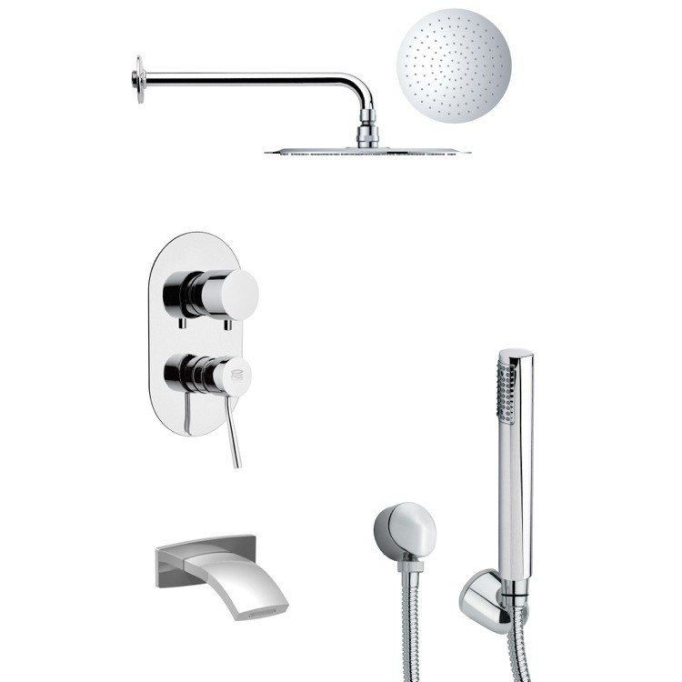 REMER TSH4131 TYGA SLEEK CHROME TUB AND SHOWER FAUCET SET WITH HANDHELD SHOWER