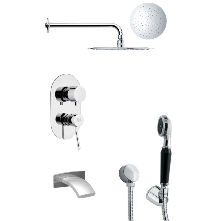REMER TSH4132 TYGA SLEEK CHROME TUB AND SHOWER FAUCET SET WITH HAND SHOWER