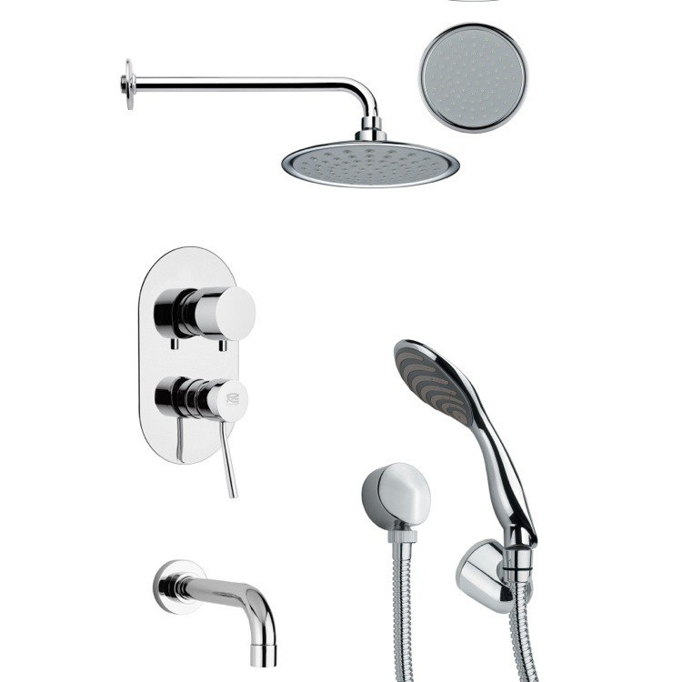 REMER TSH4137 TYGA ROUND TUB AND SHOWER FAUCET WITH HANDHELD SHOWER IN CHROME