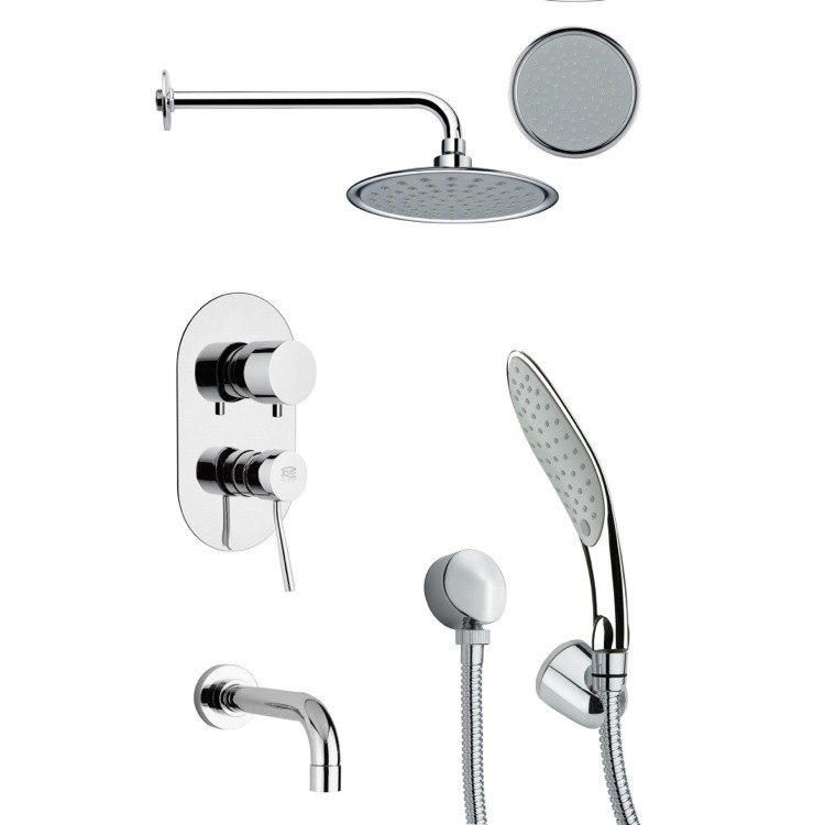REMER TSH4138 TYGA ROUND TUB AND SHOWER FAUCET SET WITH HAND SHOWER IN CHROME