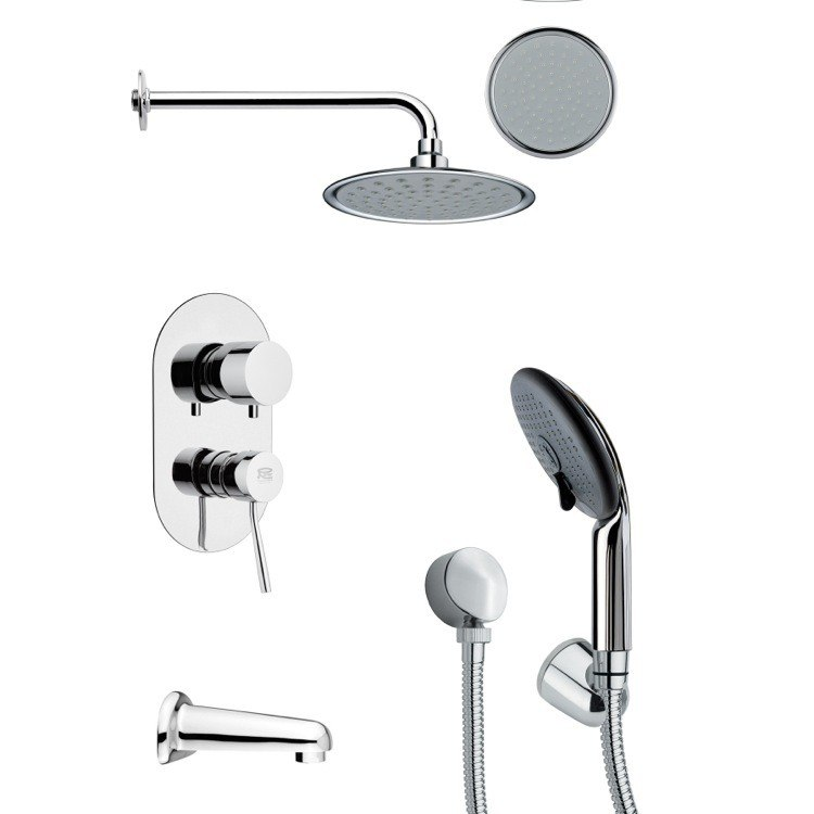 REMER TSH4140 TYGA SLEEK ROUND CHROME TUB AND SHOWER FAUCET SET WITH HAND SHOWER