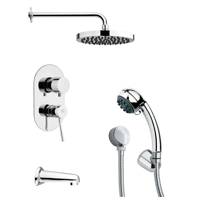 REMER TSH4142 TYGA SLEEK ROUND CHROME TUB AND SHOWER FAUCET SET WITH HANDHELD SHOWER