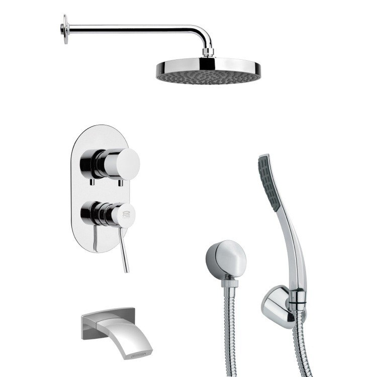 REMER TSH4148 TYGA POLISHED CHROME ROUND TUB AND SHOWER FAUCET WITH HANDHELD SHOWER