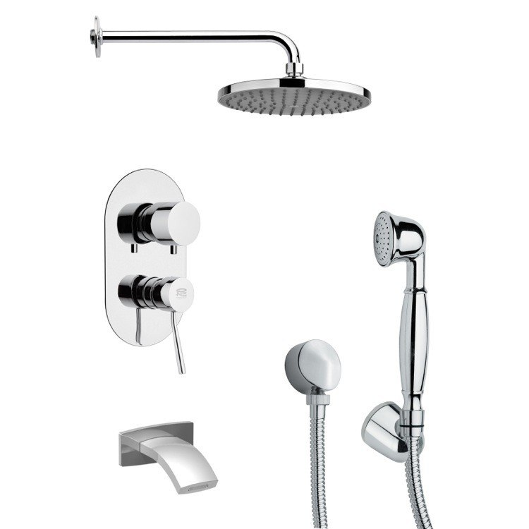 REMER TSH4152 TYGA ROUND MODERN CHROME TUB AND SHOWER FAUCET SET WITH HANDHELD SHOWER