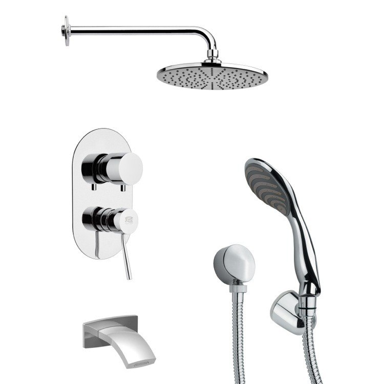 REMER TSH4153 TYGA ROUND MODERN CHROME TUB AND SHOWER FAUCET SET WITH HAND SHOWER