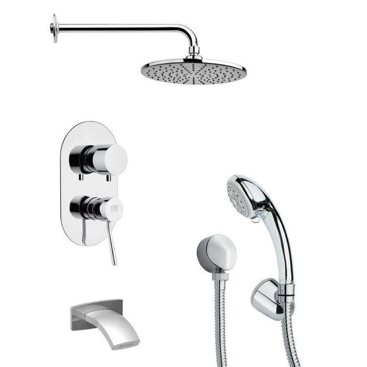 REMER TSH4154 TYGA ROUND CONTEMPORARY TUB AND SHOWER FAUCET SET WITH HANDHELD SHOWER IN CHROME
