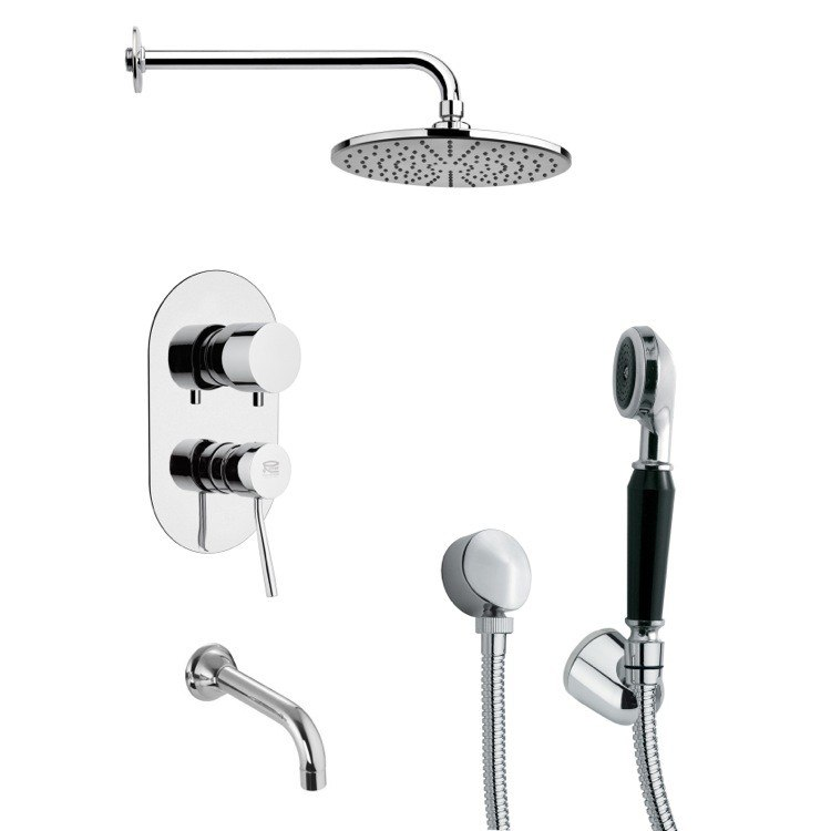 REMER TSH4155 TYGA ROUND CONTEMPORARY TUB AND SHOWER FAUCET WITH HAND SHOWER IN CHROME