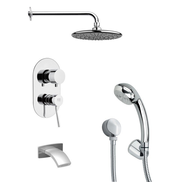 REMER TSH4159 TYGA POLISHED CHROME SLEEK TUB AND SHOWER FAUCET WITH HAND SHOWER
