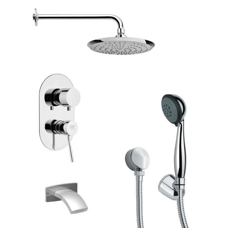 REMER TSH4161 TYGA POLISHED CHROME SLEEK TUB AND SHOWER FAUCET SET WITH HAND SHOWER
