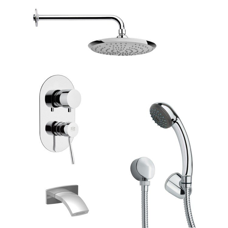 REMER TSH4162 TYGA MODERN TUB AND SHOWER FAUCET SET WITH HANDHELD SHOWER IN CHROME