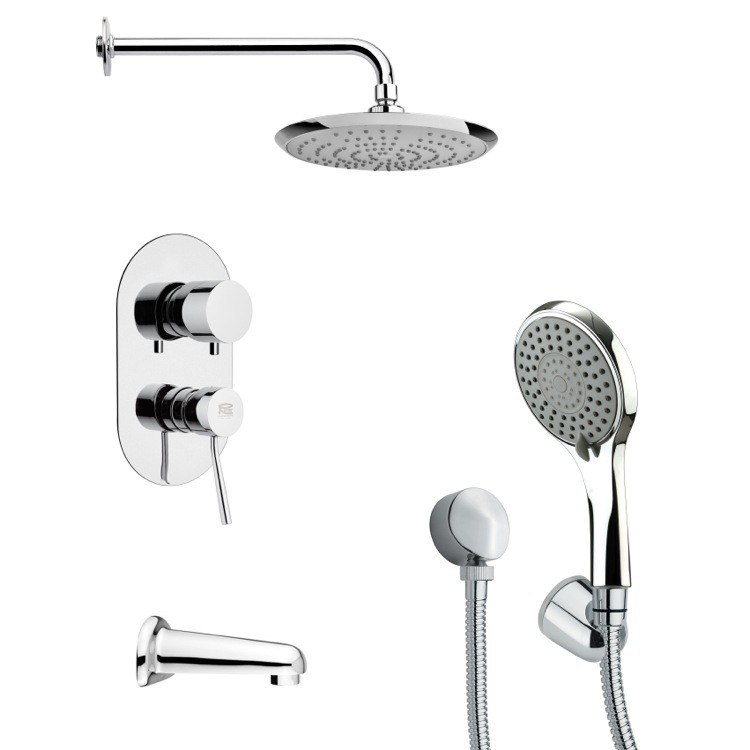 REMER TSH4163 TYGA MODERN TUB AND SHOWER FAUCET SET WITH HAND SHOWER IN CHROME