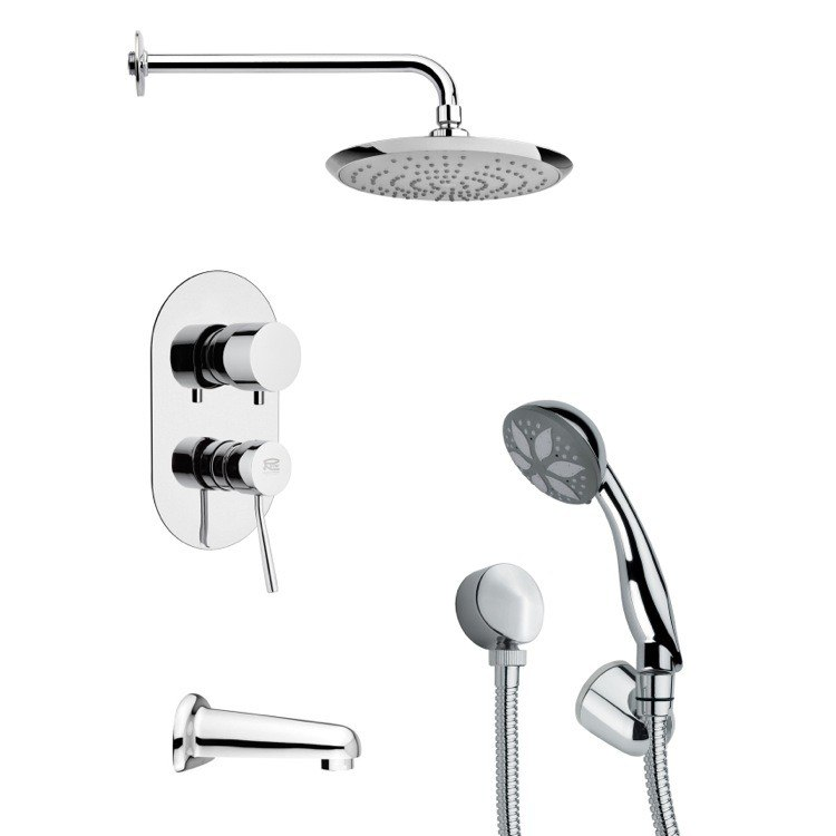 REMER TSH4164 TYGA MODERN TUB AND SHOWER FAUCET WITH HANDHELD SHOWER IN CHROME