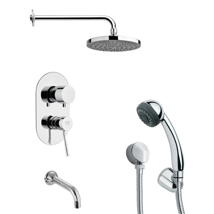 REMER TSH4165 TYGA MODERN TUB AND SHOWER FAUCET WITH HAND SHOWER IN CHROME