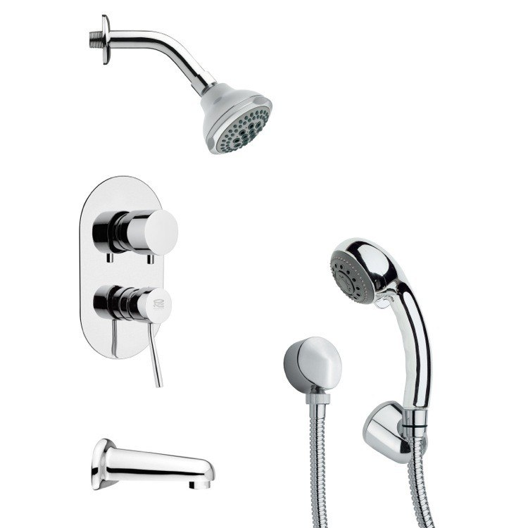 REMER TSH4175 TYGA CONTEMPORARY ROUND CHROME TUB AND SHOWER FAUCET WITH HANDHELD SHOWER