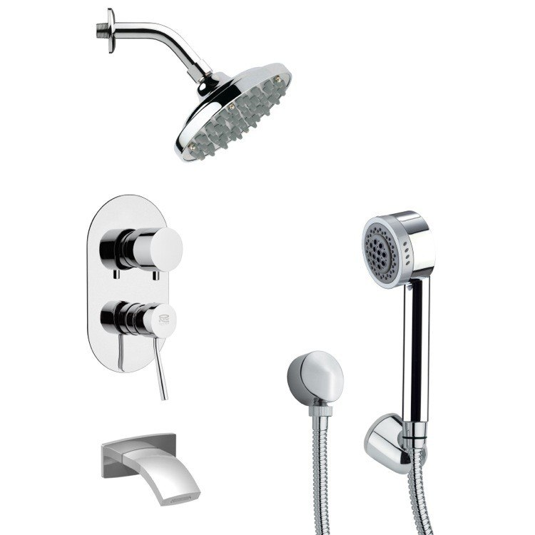 REMER TSH4179 TYGA ROUND SLEEK CONTEMPORARY SHOWER SYSTEM IN CHROME
