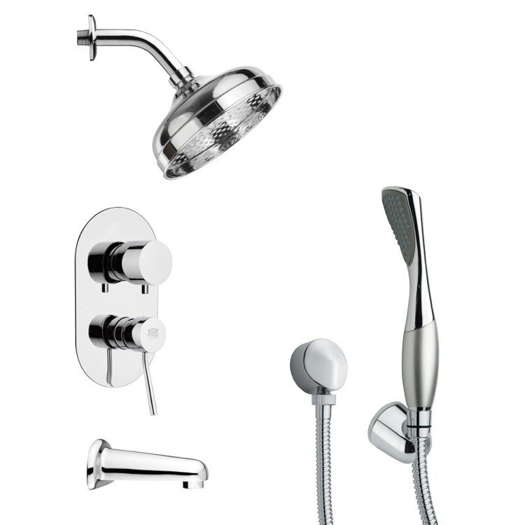 REMER TSH4186 TYGA MODERN POLISHED CHROME TUB AND SHOWER FAUCET SET WITH HAND SHOWER