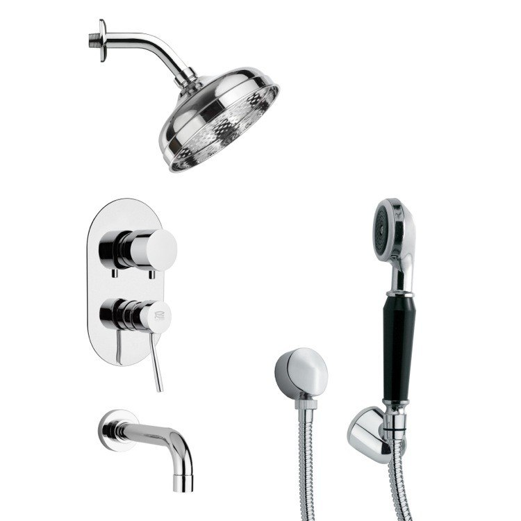REMER TSH4187 TYGA CONTEMPORARY POLISHED CHROME TUB AND SHOWER FAUCET SET WITH HANDHELD SHOWER