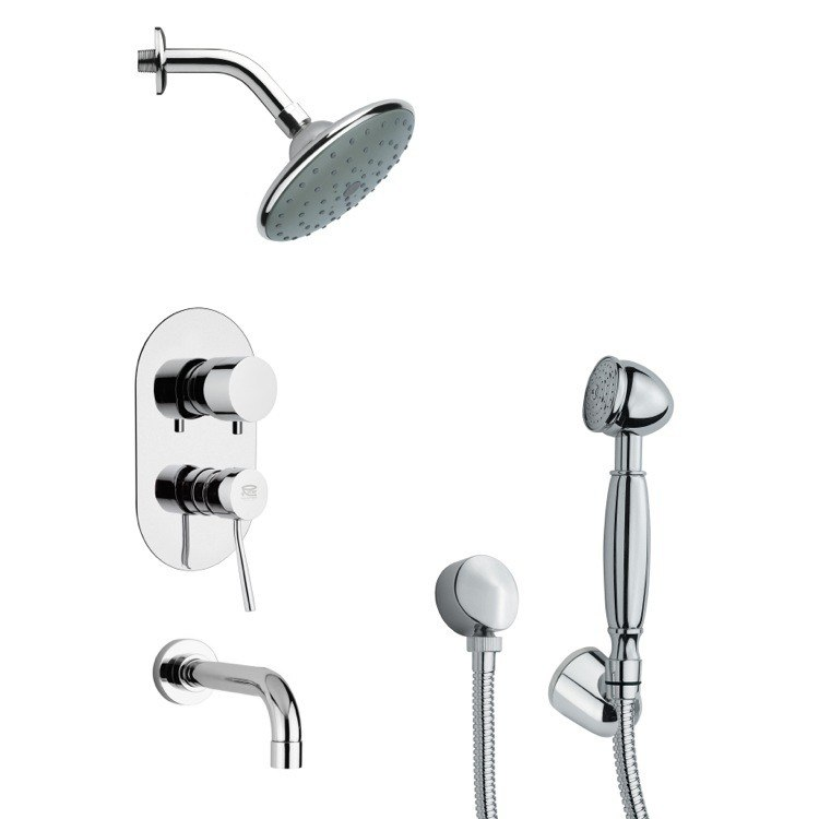 REMER TSH4189 TYGA SLEEK MODERN TUB AND SHOWER FAUCET WITH HANDHELD SHOWER IN CHROME