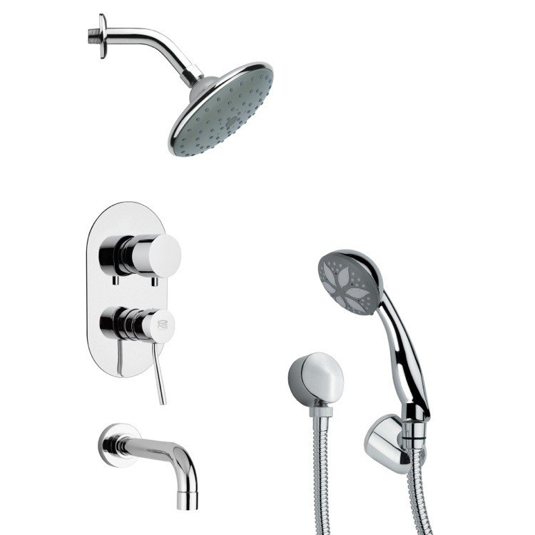 REMER TSH4190 TYGA SLEEK MODERN TUB AND SHOWER FAUCET WITH HAND SHOWER IN CHROME