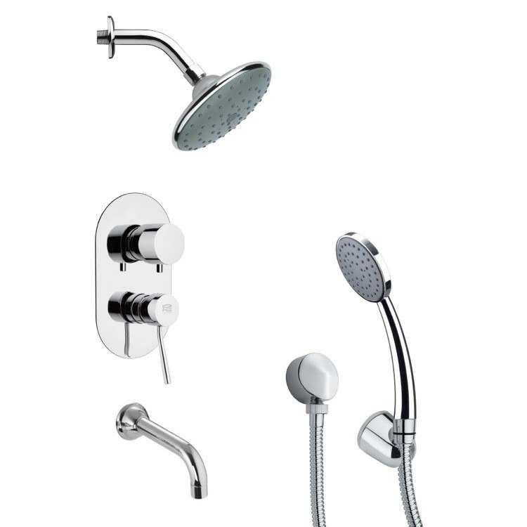 REMER TSH4191 TYGA SLEEK MODERN TUB AND SHOWER FAUCET SET WITH HANDHELD SHOWER IN CHROME