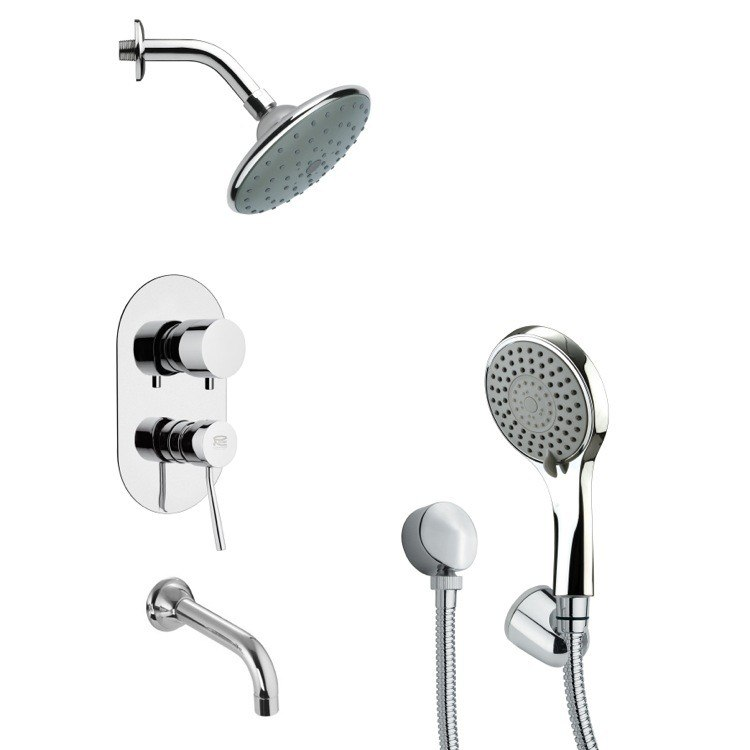 REMER TSH4192 TYGA SLEEK MODERN TUB AND SHOWER FAUCET SET WITH HAND SHOWER IN CHROME