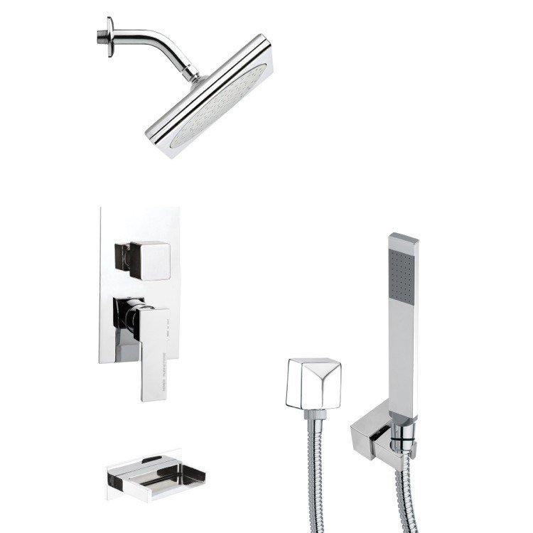 REMER TSH4193 TYGA SQUARE MODERN TUB AND SHOWER FAUCET WITH HANDHELD SHOWER IN CHROME