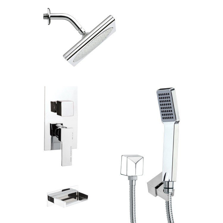 REMER TSH4194 TYGA SQUARE MODERN TUB AND SHOWER FAUCET WITH HAND SHOWER IN CHROME