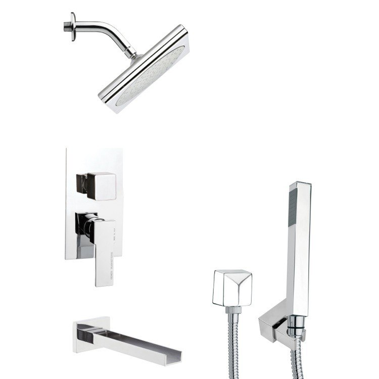 REMER TSH4195 TYGA SQUARE MODERN TUB AND SHOWER FAUCET SET WITH HANDHELD SHOWER IN CHROME