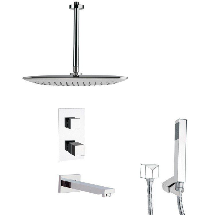 REMER TSH4400 TYGA THERMOSTATIC POLISHED CHROME SQUARE TUB AND SHOWER FAUCET WITH HAND SHOWER