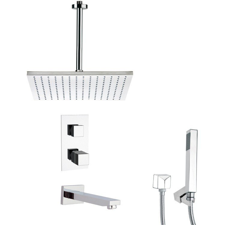 REMER TSH4401 TYGA THERMOSTATIC POLISHED CHROME SQUARE TUB AND SHOWER FAUCET WITH HAND SHOWER