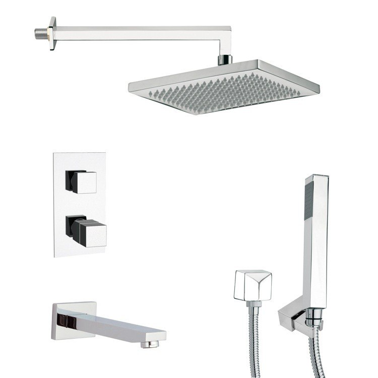 REMER TSH4402 TYGA THERMOSTATIC POLISHED CHROME SQUARE TUB AND SHOWER FAUCET WITH HAND SHOWER
