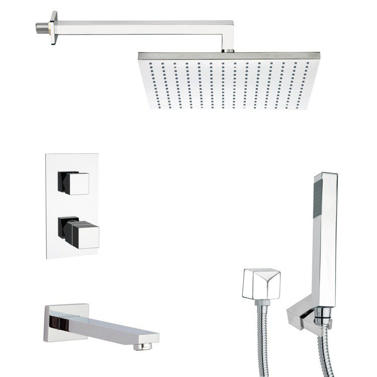 REMER TSH4403 TYGA POLISHED CHROME THERMOSTATIC TUB AND SHOWER FAUCET WITH HAND SHOWER