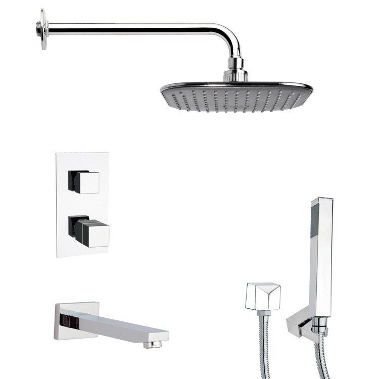 REMER TSH4404 TYGA POLISHED CHROME THERMOSTATIC TUB AND SHOWER FAUCET WITH HAND SHOWER