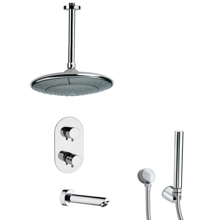 REMER TSH4406 TYGA POLISHED CHROME THERMOSTATIC TUB AND SHOWER FAUCET WITH HANDHELD SHOWER
