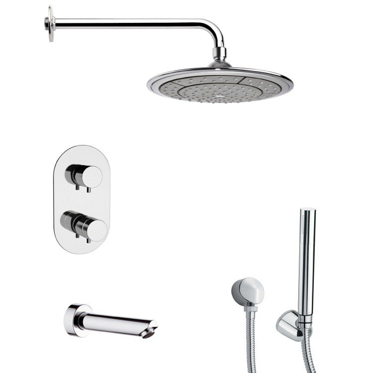 REMER TSH4408 TYGA POLISHED CHROME THERMOSTATIC TUB AND SHOWER FAUCET WITH HANDHELD SHOWER