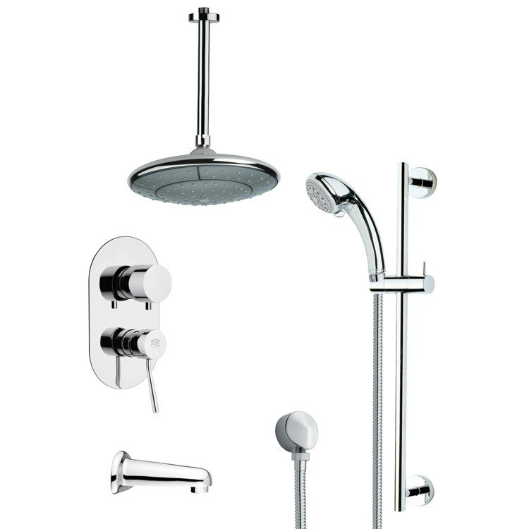 REMER TSR9005 GALIANO MODERN TUB AND RAIN SHOWER FAUCET WITH HAND SHOWER IN CHROME