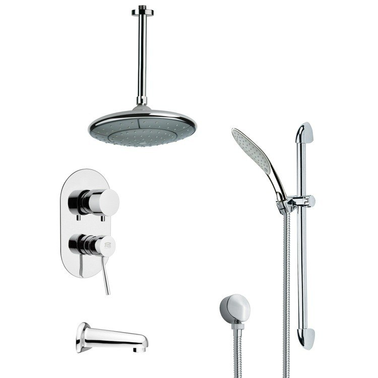 REMER TSR9006 GALIANO MODERN TUB AND RAIN SHOWER FAUCET WITH HAND SHOWER IN CHROME