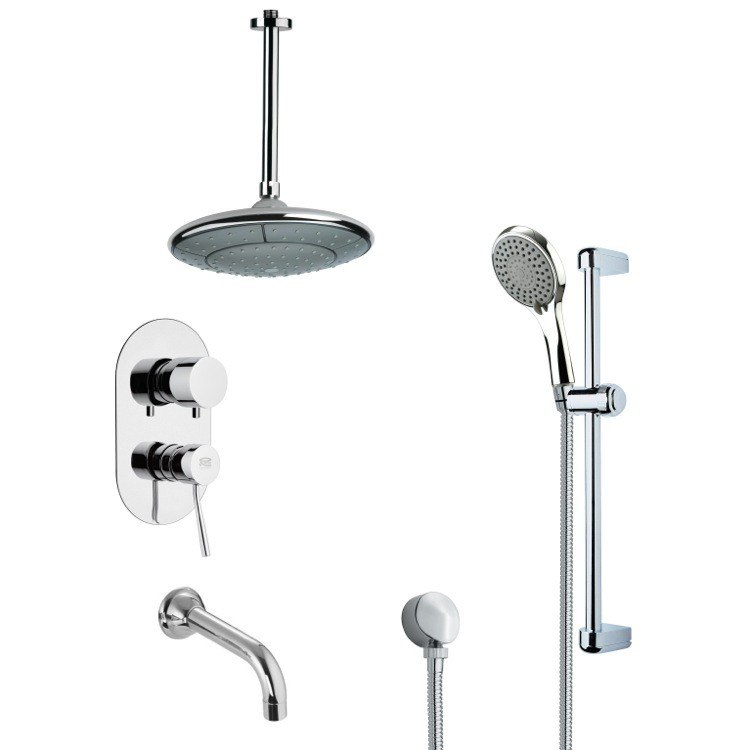 REMER TSR9007 GALIANO MODERN TUB AND RAIN SHOWER FAUCET WITH HAND SHOWER IN CHROME