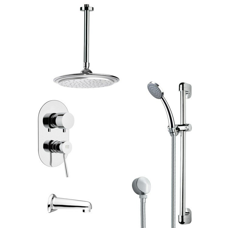 REMER TSR9008 GALIANO MODERN TUB AND RAIN SHOWER FAUCET WITH HAND SHOWER IN CHROME